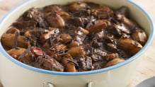 Slow Cooked Steak and Mushrooms in Red Wine