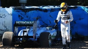 Lewis Hamilton walks away from a crash in testing with his new Mercedes team