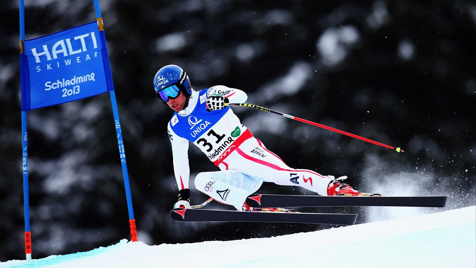 Benjamin Raich of Austria skis in the Men's Downhill Training during the Alpine FIS Ski World Championships