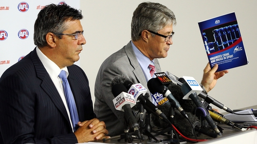AFL CEO Andrew Demetriou and Commission Chairman Mike Fitzpatrick address the media after the release of the report