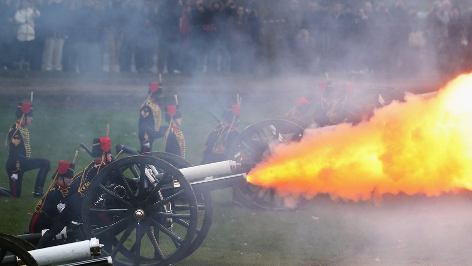 The King's Troop, Royal Horse Artillery fire a 41-gun salute in Green Park in London