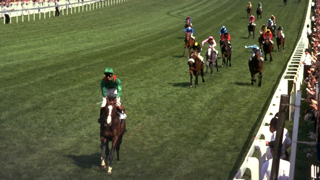 Shergar wins the Derby at Epsom by 10 l