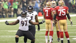 Arthur Jones of the Baltimore Ravens reacts against the San Francisco 49ers during Super Bowl XLVII