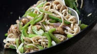 Chow Down Chicken Noodles - This is a great takeawayish recipe, all the tastes and textures of a traditional Chinese, but with extra crunch and veggies. Use skinless boneless chicken thighs for really juicy tender chicken, much better than chicken fillets. You can make this a vegetarian main meal by swapping out the chicken for extra veggies like courgettes and extra peppers. The real ish ingredient is pale dry sherry, also called fino sherry. This is the closest Western equivelant to Chinese sxhaosing wine which is a traditional rice wine.