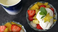 Exotic Fruit Salad With Aromatic Syrup - It can be tricky to find a dessert to finish off an Asian meal. Fresh exotic fruit is the ideal choice, but sometimes we want a little decadent touch. This delicious syrup is heavenly, my students go gaga over it. Make extra and keep in a clean screw top jar in the fridge for 2 weeks. Heat up and serve with vanilla ice cream - delish! The ish factor are the aromatic spices and lime juice used in the syrup.