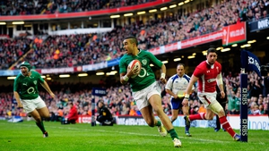 Simon Zebo scores Ireland's opening try in their Six Nations victory over Wales in Cardiff