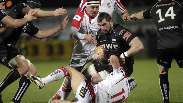 Ulster's Rob Herring and Michael Allen tackle Morgan Allen