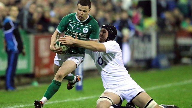 Ireland's Gerry Hurley eludes England Billy Johnson