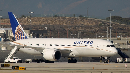 A grounded Boeing 787 Dreamliner jet operated by United Airlines is parked at Los Angeles International Airport