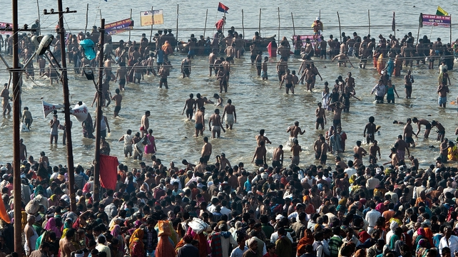 This year's festival, which continues until 10 March, is also a Maha Kumbh Mela - which is marked once every 144 years