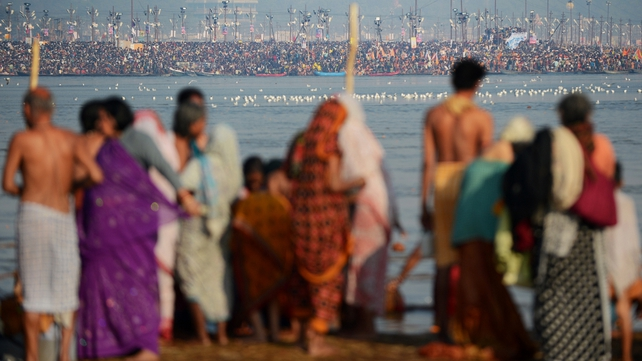 Tens of millions of Hindus gathered for a holy bath in India's sacred river Ganges
