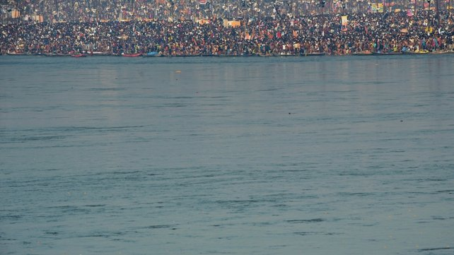 Millions of devotees congregate at the Sangam