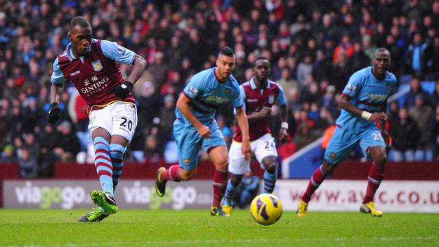 Christian Benteke put Villa ahead from the spot after 74 minutes