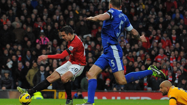 Robin van Persie wraps up victory against Everton - and very possibly the Premier League title - at Old Trafford