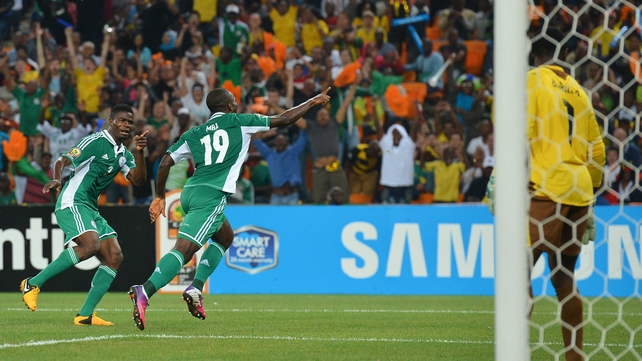 Mba celebrates his winning strike for the Super Eagles