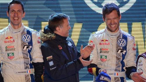 Ogier (r) on the victory podium afterwards