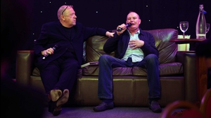 Paul Gascoigne with his agent Terry Baker (left) during an after dinner charity event function