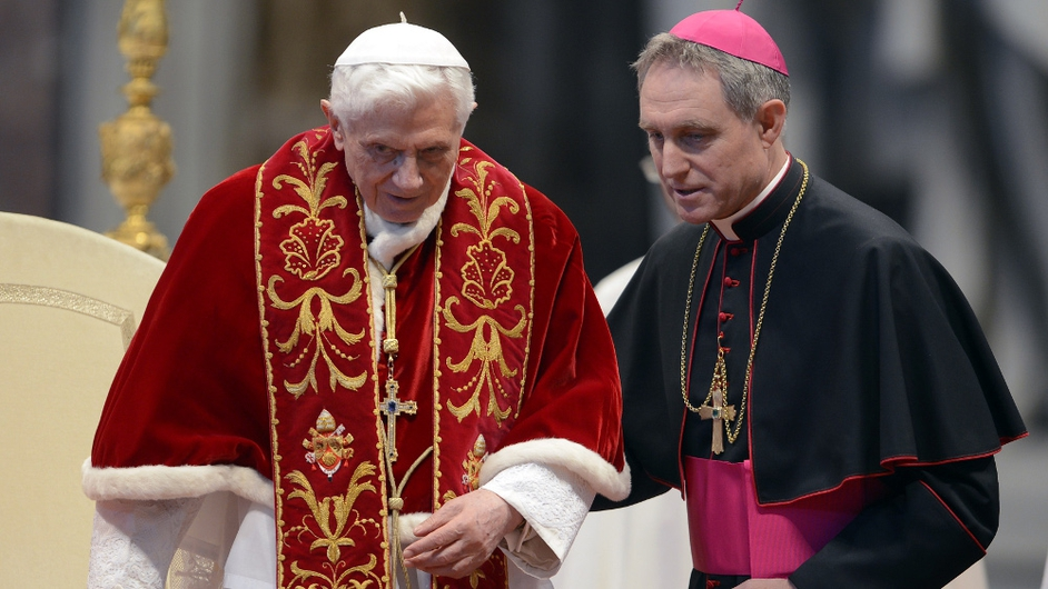 A frail Benedict said mass in the Vatican yesterday