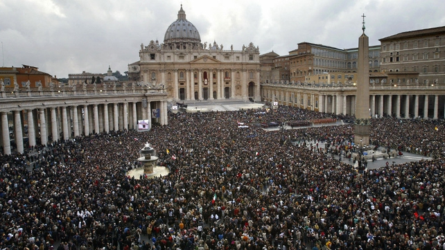 Crowd gathered on St Peter's Square as Joseph Ratzinger, the new Pope Benedict XVI, appears at the window of St Peter's Basilica on 19 April 2005