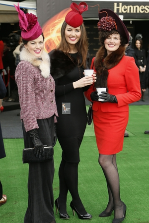 Aisling Ahern, Clara Cregan and Grainne Ahern at the Hennessy Gold Cup