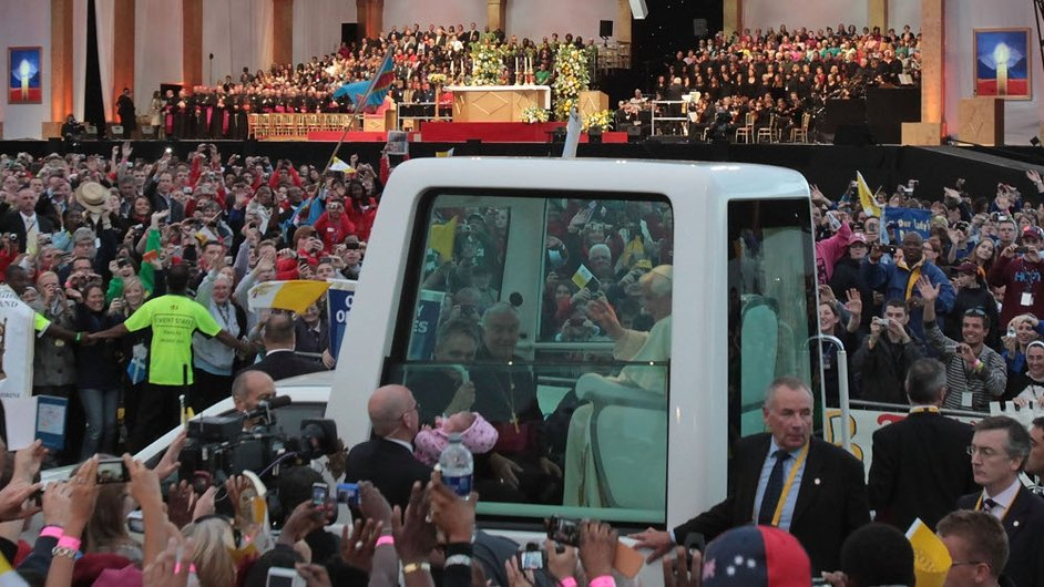 Pope Benedict waves to thousands of pilgrims in Hyde Park, London, in September 2010, during the first state visit to the UK by a Pontiff