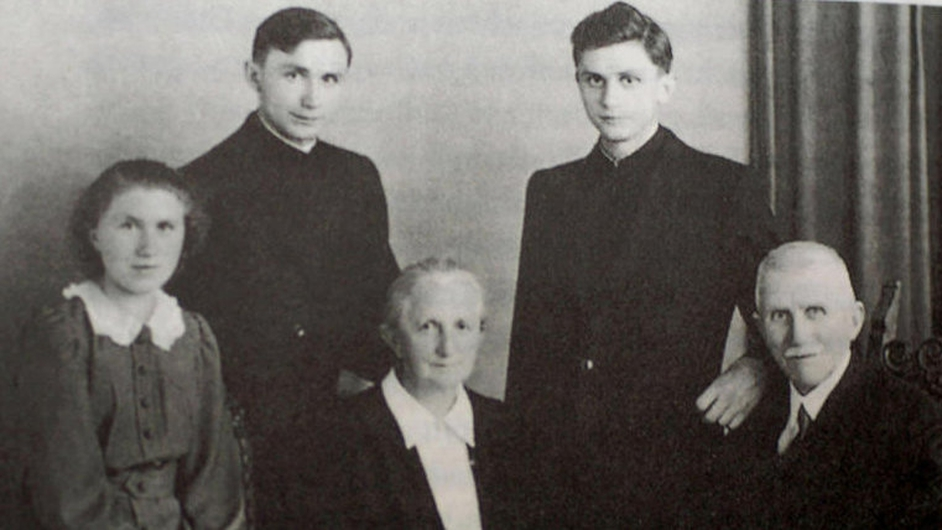 Joseph Ratzinger (back row right), with his father Josef, mother Maria, sister Maria and brother Georg in 1951