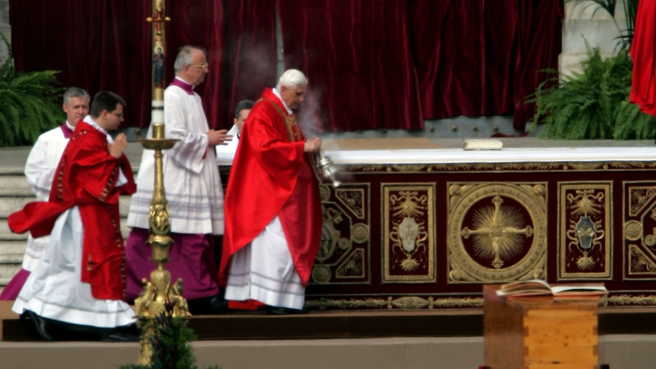 Cardinal Ratzinger swings an incense burner during John Paul II's funeral in April 2005
