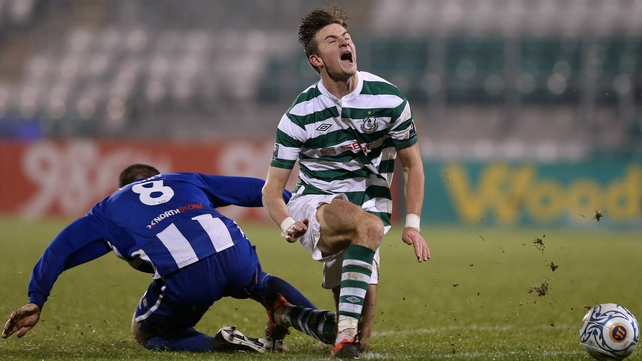 Shamrock Rovers will have to come from behind in their second leg after defeat to Coleraine in Tallaght Stadium