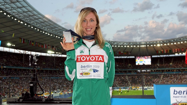 Loughnane on the podium in Berlin with her World Championship silver medal