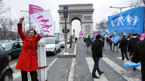 People blocked traffic in Paris on Sunday during a demonstration on the Champs Elysees by predominantly right wing supporters protesting the proposed law to legalise gay marriage
