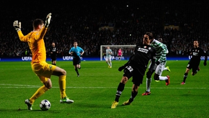 Alessandro Matri slips the ball through the keeper's legs as Juventus took the lead early in the first half