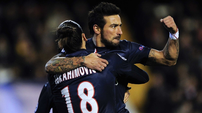 Ezequiel Lavezzi celebrates his goal with Zlatan Ibrahimovic