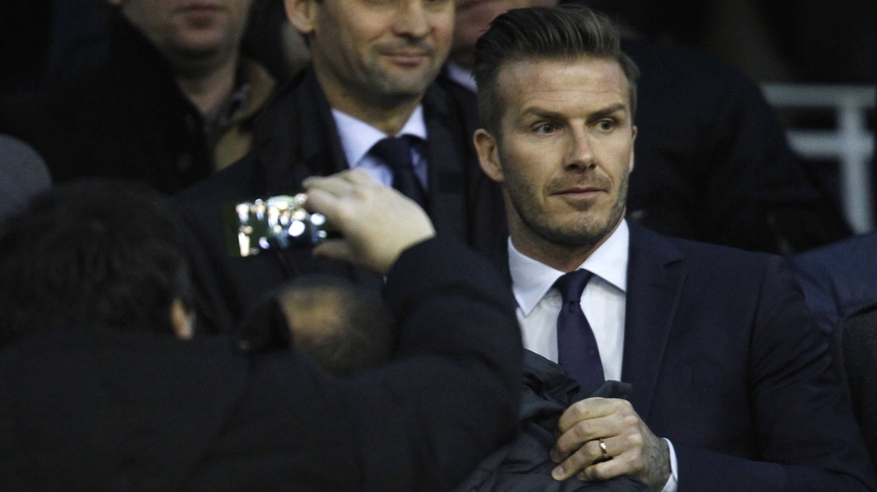 David Beckham was not at Celtic Park but watching his new side PSG take on Valencia in the night's other Champions League clash...