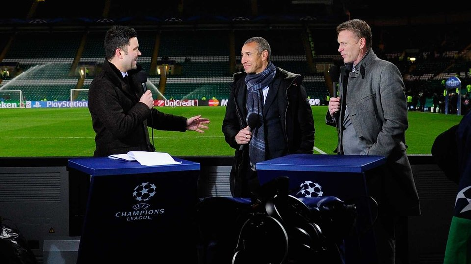 Celtic legend Henrik Larsson was at the match on media duty with Everton boss David Moyes
