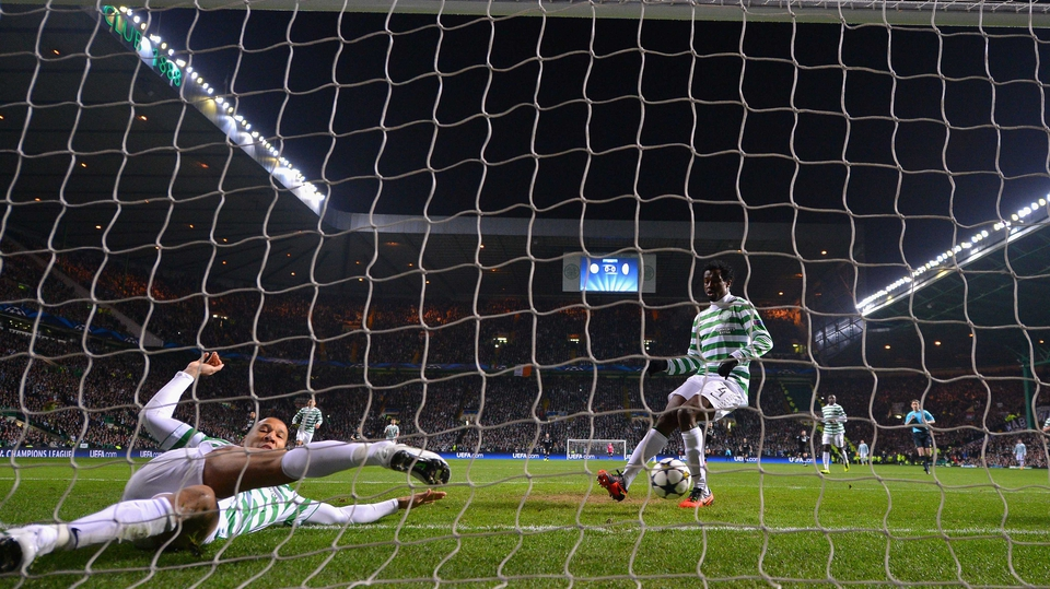 Celtic defender Kelvin Wilson tried his best to clear the ball as Juventus took the lead...