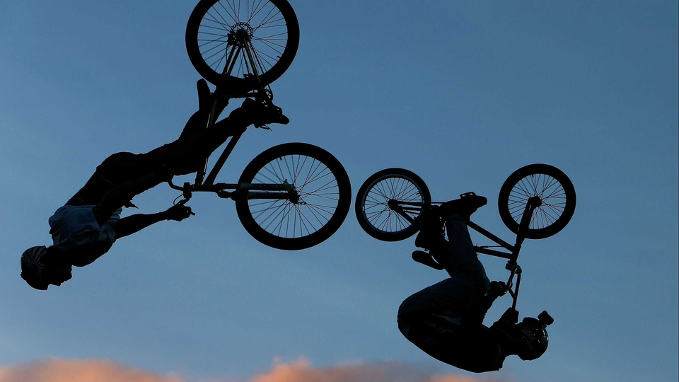 BMX riders perform during Nitro Circus Live at Westpac Stadium in New Zealand