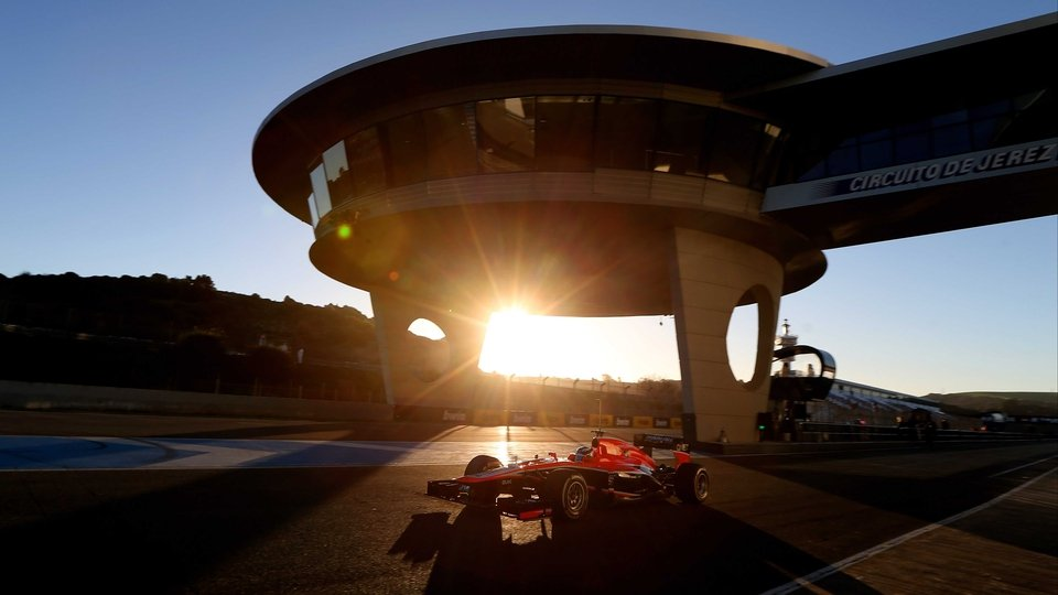 Marussia's Max Chilton during Formula One winter testing in Jerez