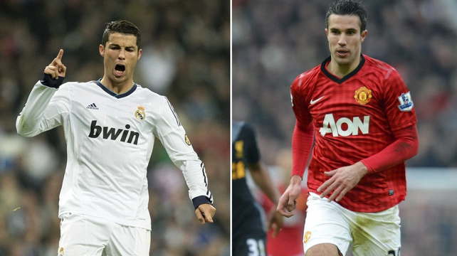 Cristiano Ronaldo and Robin van Persie squared up in tonight's Champions League clash at the Bernabéu