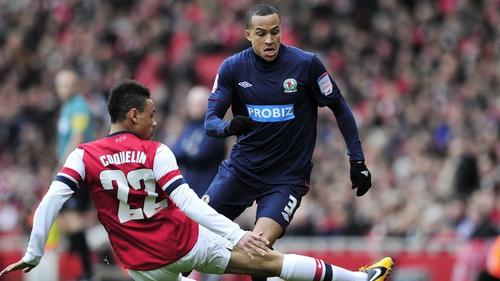 Blackburn Rovers defender Martin Olsson vies with Arsenal's Francis Coquelin