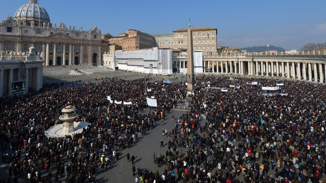 Larger than normal crowds attended the prayers in St Peter's Square