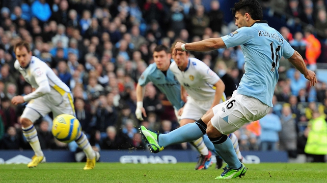 Sergio Aguero struck twice for Manchester City