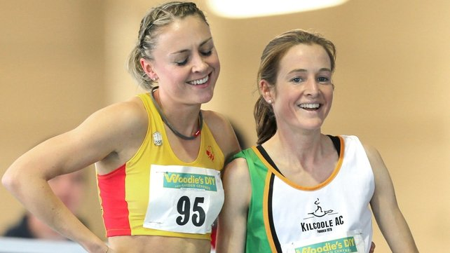 Fionnula Britton (right) beat Kerry Harty (left) in the final of the women's 1500m