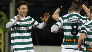 Mark Quigley celebrates after giving Shamrock Rovers an early lead in Coleraine