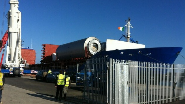 The first of Diageo's new 85 foot long containers arrive in Dun Laoghaire
