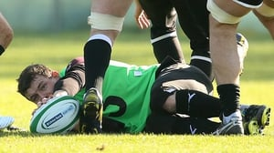 Ex-Ireland captain Brian O'Driscoll takes a little break during training on Tuesday morning