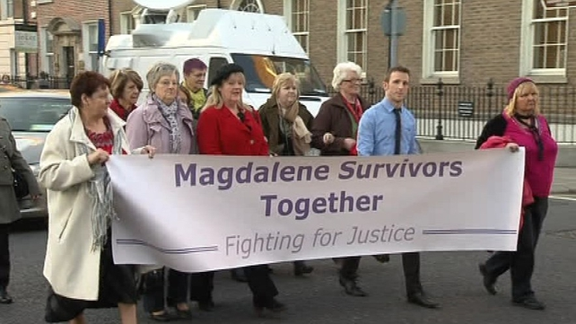 Survivors of the Magdalene Laundries outside Leinster House