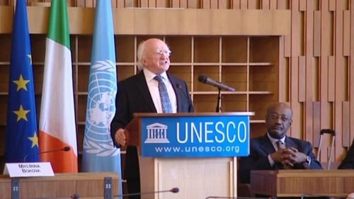 President Michael D Higgins addresses delegates of UNESCO