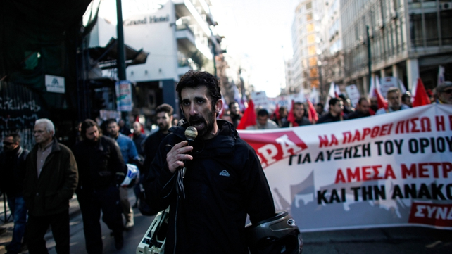 Members of a Greek Communist trade union demonstrate in the centre of Athens