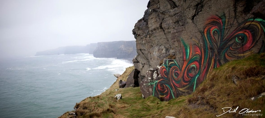 Graffiti artists at the Cliffs of Moher