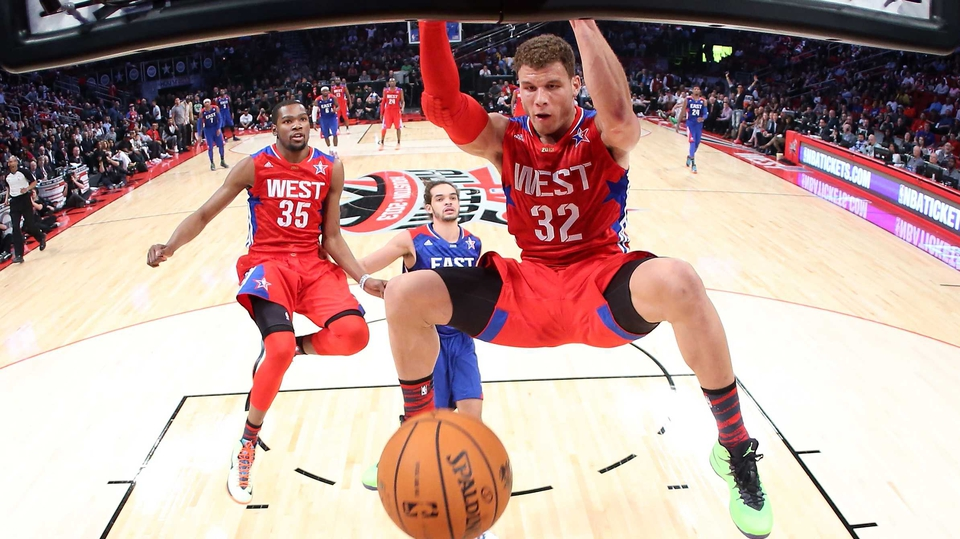 Blake Griffin of the Los Angeles Clippers and the Western Conference dunks the ball during the 2013 NBA All-Star game at the Toyota Center in Houston